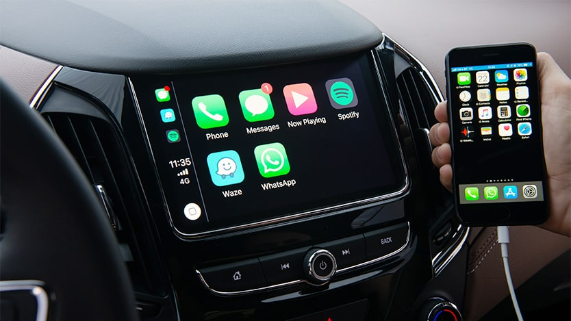 Integração Apple CarPlay do carro com Wi-Fi Cruze Sport6 Premier 2020