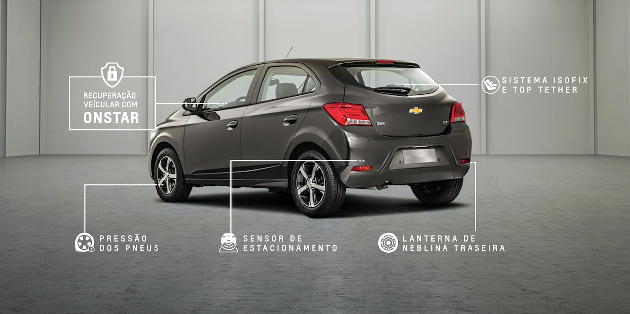 Traseira do novo hatch Chevrolet Onix Advantage 2019 Prata Switchblade