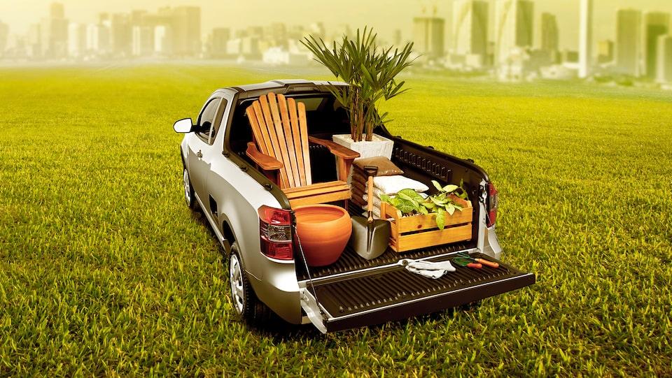 Caçamba carga jardim Chevrolet Montana caminhonete 2019